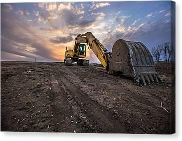 Excavator Canvas Print by Aaron J Groen
