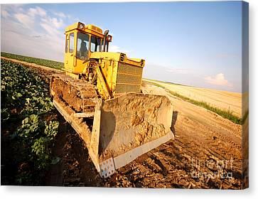 Excavator Working Canvas Print by Michal Bednarek