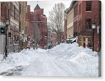 Exchange Street Historic  Snow Canvas Print by Benjamin Williamson