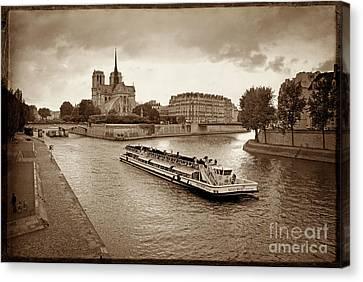 Excursion Boat On The Seine.paris Canvas Print by Bernard Jaubert