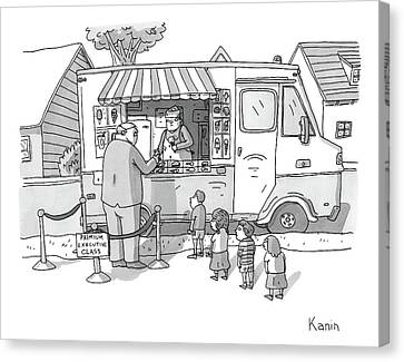 Exec Cuts Children In Line For Ice Cream Canvas Print by Zachary Kanin