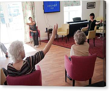 Exercise Class At A Care Home Canvas Print
