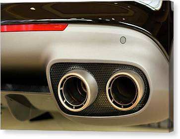 Exhaust Pipes Of A Ferrari California Canvas Print by Jim West