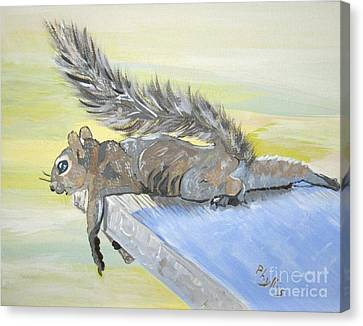 Exhausted Little Nevada Squirrel Canvas Print by Phyllis Kaltenbach