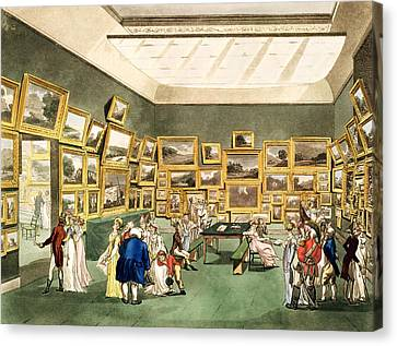 Exhibition Of Watercoloured Drawings Canvas Print by T and Pugin and AC Rowlandson