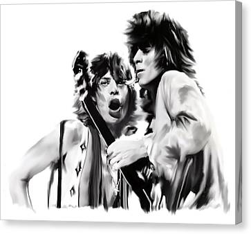 Exile II Mick Jagger And Keith Richards Canvas Print by Iconic Images Art Gallery David Pucciarelli
