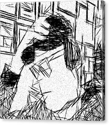 Etch A Sketch Canvas Print - Existential Despair by Jonathan Harnisch
