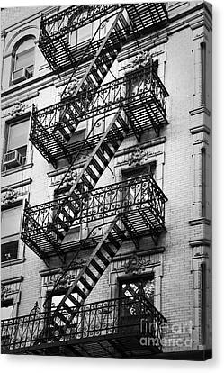 Nyc Fire Escapes Canvas Print - Exit by Delphimages Photo Creations