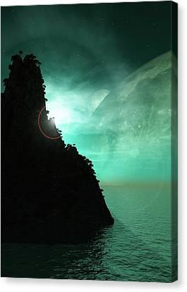 Exoplanet Landscape Canvas Print by Mikkel Juul Jensen