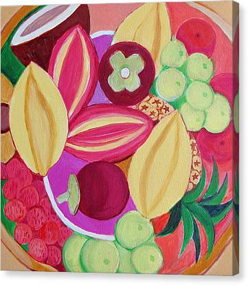 Passion Fruit Canvas Print - Exotic Fruit Bowl by Toni Silber-Delerive