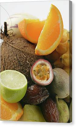 Passionfruit Canvas Print - Exotic Fruit Still Life With Coconut by Foodcollection