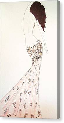 Exotic Lilies Gown Canvas Print by Christine Corretti