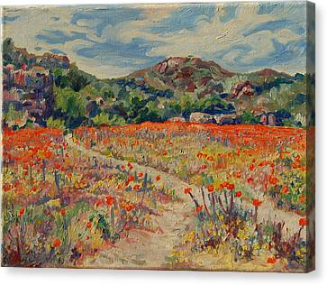 Canvas Print featuring the painting Expanse Of Orange Desert Flowers With Hills by Thomas Bertram POOLE