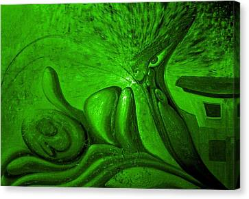 Expectation In Green Canvas Print by Genio GgXpress