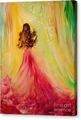 Canvas Print featuring the painting Expecting by Teresa Wegrzyn