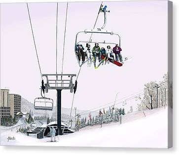 Canvas Print featuring the painting Experience Seven Springs by Albert Puskaric