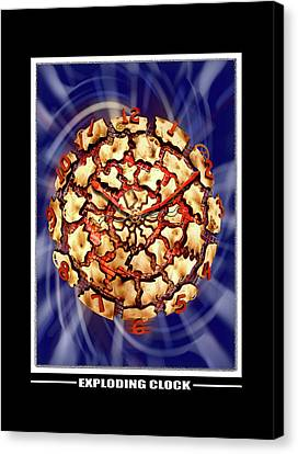 Exploding Clock Canvas Print