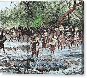 Explorers Crossing A Stream Canvas Print by Prisma Archivo