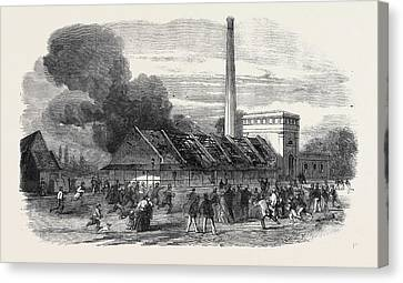 Explosion At The Government Gunpowder Works Near Waltham Canvas Print by English School