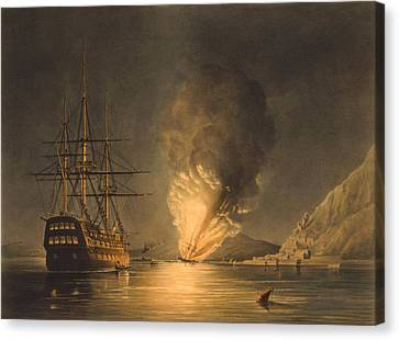 Explosion Of The Uss Steam Frigate Missouri Canvas Print by War Is Hell Store