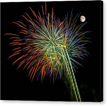 Explosions Of Color - Fireworks And Moon Canvas Print