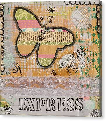 Canvas Print featuring the mixed media Express Yourself Inspirational Art by Stanka Vukelic