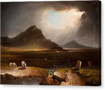Extensive Landscape With Stonemason Canvas Print by Daniel M. Mackenzie