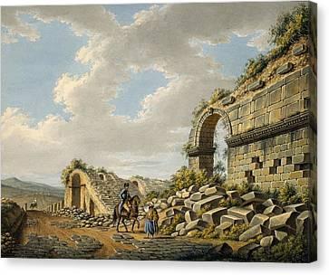 Ruin Canvas Print - Exterior Of The Ruined Roman Theatre by Gaetano Mercati