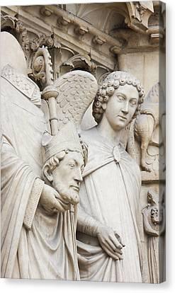 Exterior Statue Detail, Notre Dame Canvas Print by William Sutton