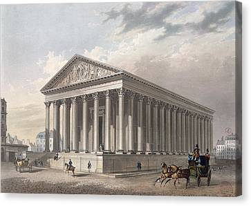 Exterior View Of The Madeleine, Paris Colour Litho Canvas Print