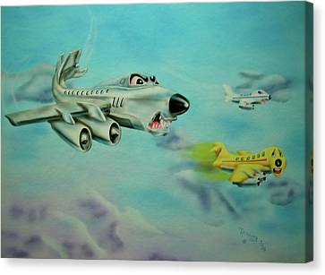 Canvas Print featuring the painting Extreme Airline Mergers by Thomas J Herring