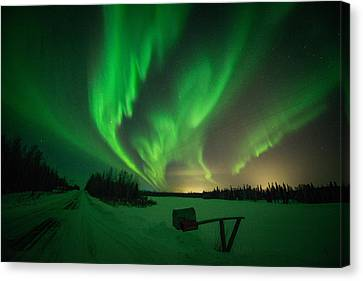 Extreme Aurora Activity Salcha Canvas Print by Roger Clifford
