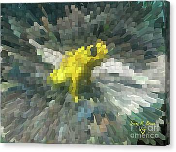 Canvas Print featuring the photograph Extrude Yellow Frog by Donna Brown