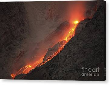 Extrusion Of Lava On Glowing Rockfalls Canvas Print by Richard Roscoe