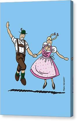 Cartoon Canvas Print - Exuberant Oktoberfest Couple Dancing by Frank Ramspott