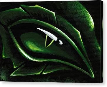 Eye Of The Emerald Green Dragon Canvas Print by Elaina  Wagner