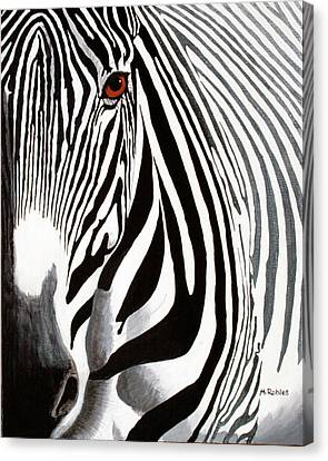 Eye Of The Zebra Canvas Print by Mike Robles