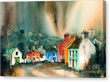 Eyeries Aurora Beara Cork Canvas Print by Val Byrne