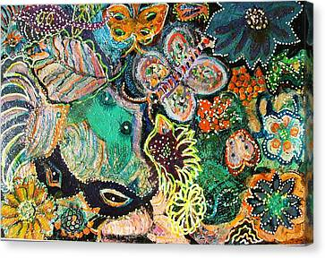 Eyes In Hiding Canvas Print by Anne-Elizabeth Whiteway