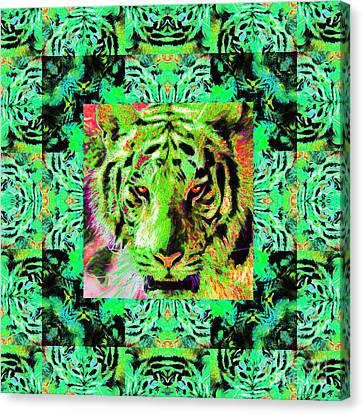 Eyes Of The Bengal Tiger Abstract Window 20130205m180 Canvas Print by Wingsdomain Art and Photography