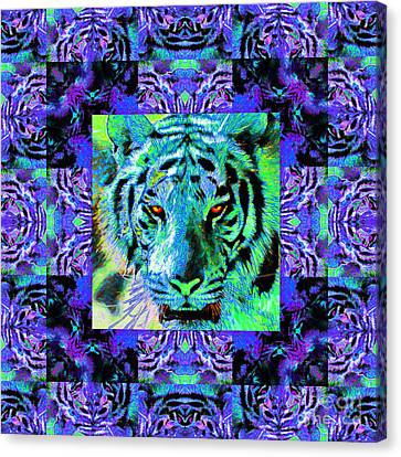 Eyes Of The Bengal Tiger Abstract Window 20130205m80 Canvas Print by Wingsdomain Art and Photography