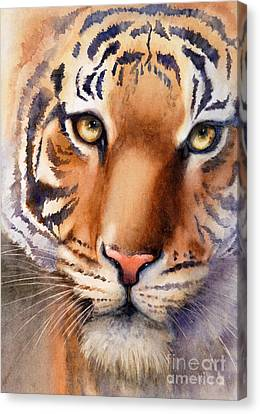 Canvas Print featuring the painting Eyes Of The Tiger by Bonnie Rinier