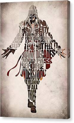 Mix Media Canvas Print - Ezio Auditore Da Firenze From Assassin's Creed 2  by Inspirowl Design