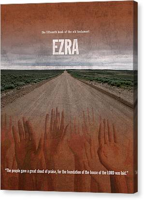 Ezra Books Of The Bible Series Old Testament Minimal Poster Art Number 15 Canvas Print by Design Turnpike