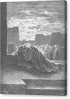 Ezra In Prayer Canvas Print by Gustave Dore