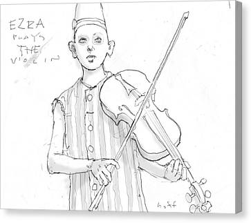 Ezra Plays The Violin Canvas Print by H James Hoff