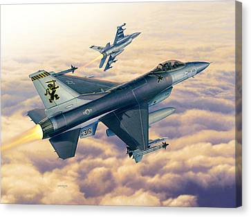 F-16c Sunset Falcons Canvas Print by Stu Shepherd