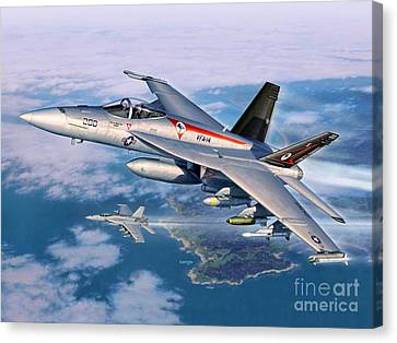 F-18e Super Hornet Canvas Print by Stu Shepherd