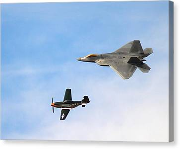 F-22 And P-51 Heritage Flight Canvas Print