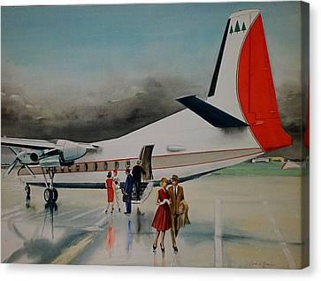F-27 At Columbus Ohio Canvas Print by Frank Hunter